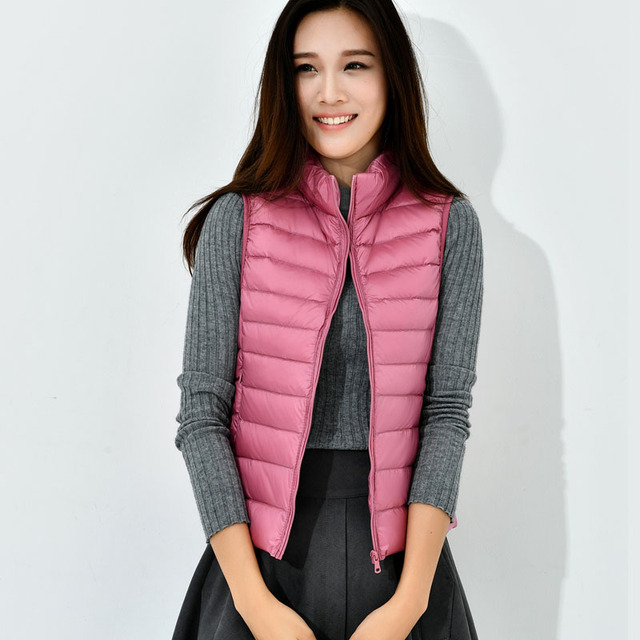 48f497c67e9 90% White Duck Down Vest Women Ultra Light Warm Vest Femme Jacket Coat  Autumn Winter Coat Plus Size 3XL Black Pink AC357
