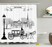 Shower Curtain Set Old Street Scene with A Carriage Horse from Twenties Historical Northern Europe Decor, Bathroom Accessories