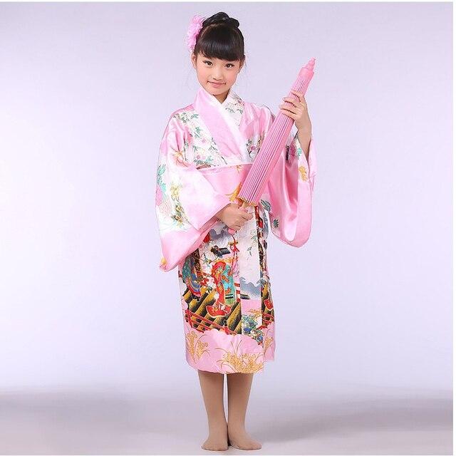 Розовый японский девочка кимоно с оби традиционные юката ребенок сценическое танец платье ребенок косплей костюм B-070