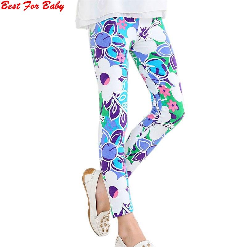 Baby Kids Girls Leggings Pants Flower Floral Printed Elastic Long Trousers 2-14Y