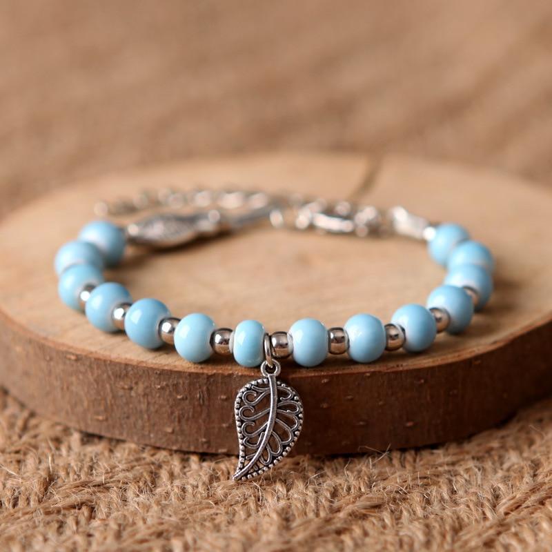 Ceramic Beaded Bracelet For Women Hollow Leaf Pendant Bracelets Men Charm Bangle Silver Color Beads Alloy Fish Open Bangles Gift