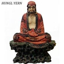 37cm Bodhidharma People Statue Lacquerware handcraft escultura Customizable Sculpture Wood Statues Craft