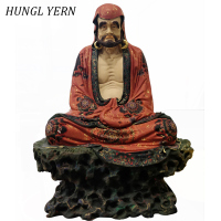 37cm Bodhidharma People Statue Lacquerware handcraft escultura Customizable Sculpture Wood Statues Craft