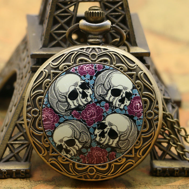 Old Bronze Flower Sea 4 Skull Heads Pocket Watch Top Selling Fob Watch For Gift