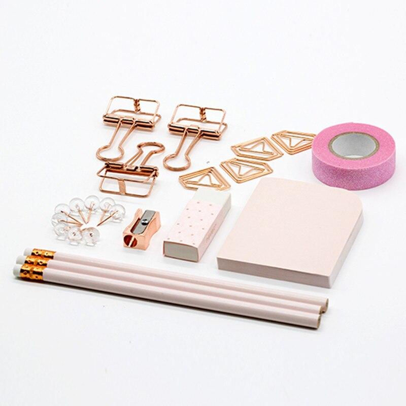 Ensemble d'articles de papeterie pince à reliure en or Rose taille-crayon autocollants bande Papelaria Combo les fournitures de bureau ensemble cadeau de papeterie