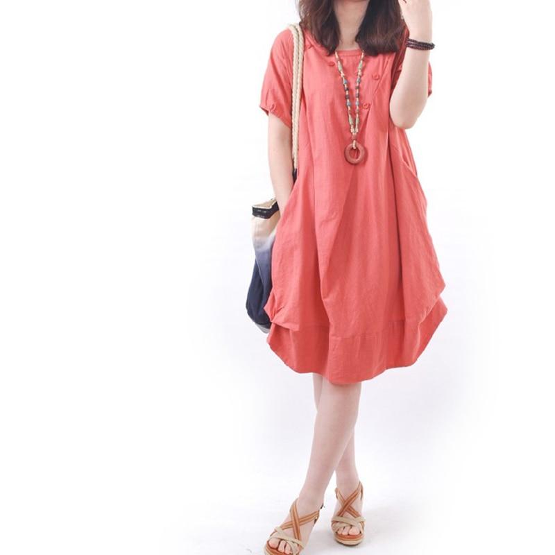 Summer 2018 chinese style Women cotton linen Casual Loose Short Sleeve Short knee length Dress Tent Dresses 2XL