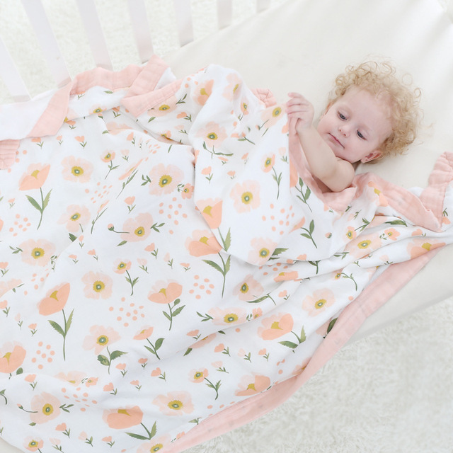 Four Layer 100 Bamboo Fiber Blanket For Newborn Baby Swaddling