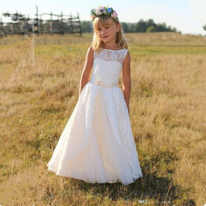 White Lace Sashes   Flower     Girls     Dresses   Hollow Back A Line Ivory Prom Gown for Wedding Party Holy Communion