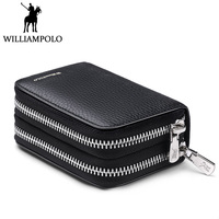 WILLIAMPOLO Genuine Leather Credit Card Holder Men Double Zipper Business Card Wallet Driver License Case ID