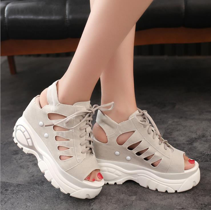 2018 new summer fashion women wedge sandals with muffin sandals thick fish mouth Roman Roman hollow 2