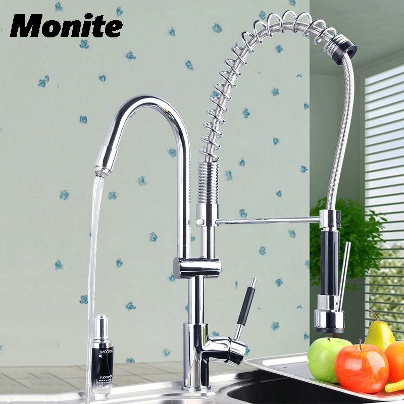 Double Handles Free Chrome Brass Water Kitchen Faucet Swivel Spout Pull Out Vessel Sink Single Handle Mixer Tap best quality wholesale and retail chrome solid brass water power kitchen faucet swivel spout pull out vessel sink mixer tap