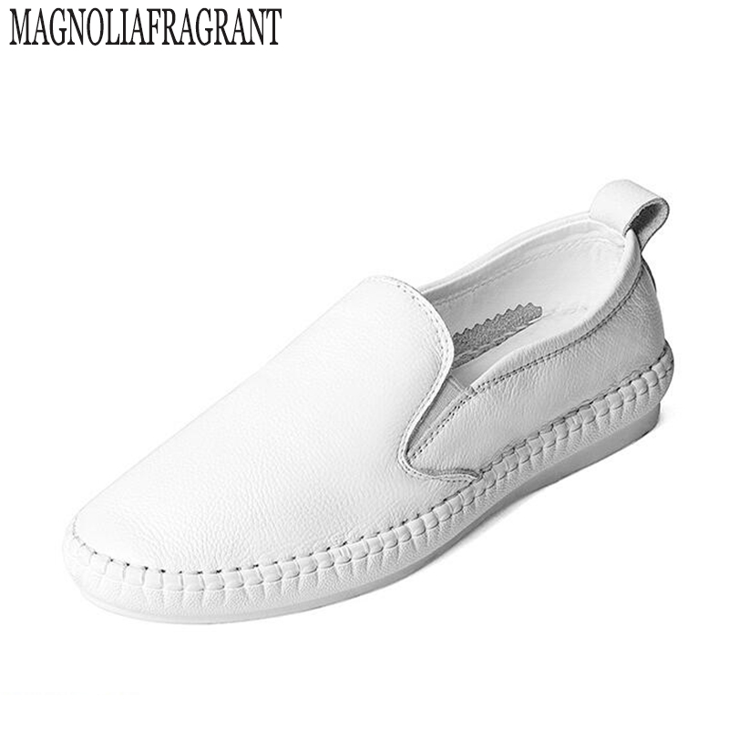 footwear Loafers Casual Flat Shoes Woman Genuine Leather Slip On Flats Fashion Round Toe Women Shoes Handmade zapatos mujer z141 size 32 43 fashion women s flat shoes women slip on round toe square heel flats laies simple casual sweet lace zapatos mujer