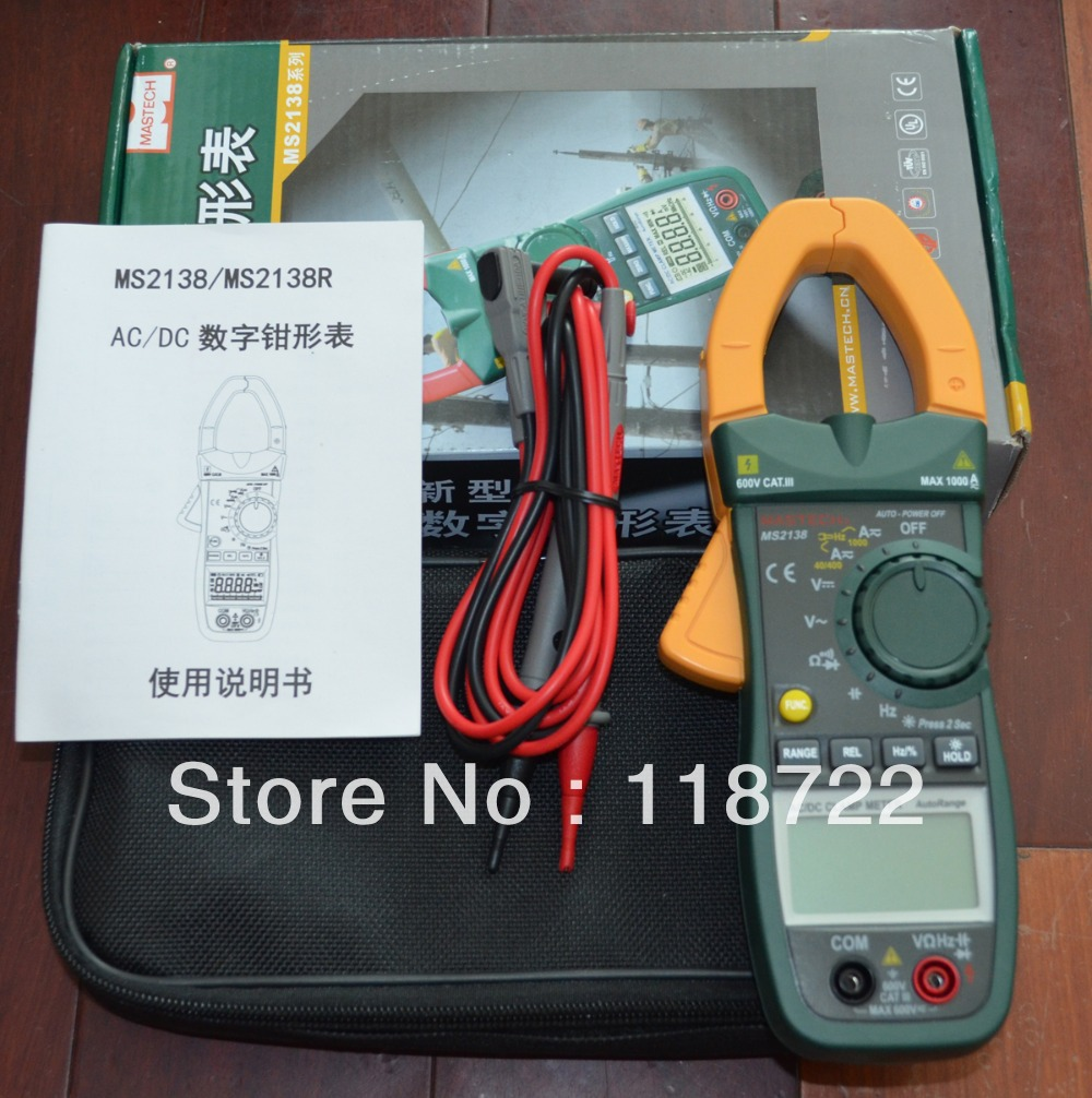 Free shipping - MASTECH MS2138 AC/DC DIGITAL CLAMP METERAC/DC Digital Clamp Meter brand new professional digital lux meter digital light meter lx1010b 100000 lux original retail package free shipping