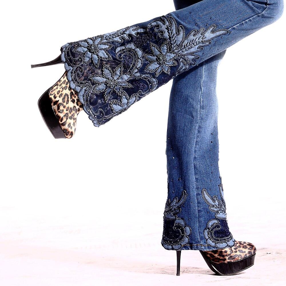 Blue Light Printemps Broderie Blue 2018 Taille dark Cut Grand Cloche Perles Brodé Luxe Bas Jeans Femelle Fusées Mi Nouveau De Boot Fine Évasée H4w45xBq