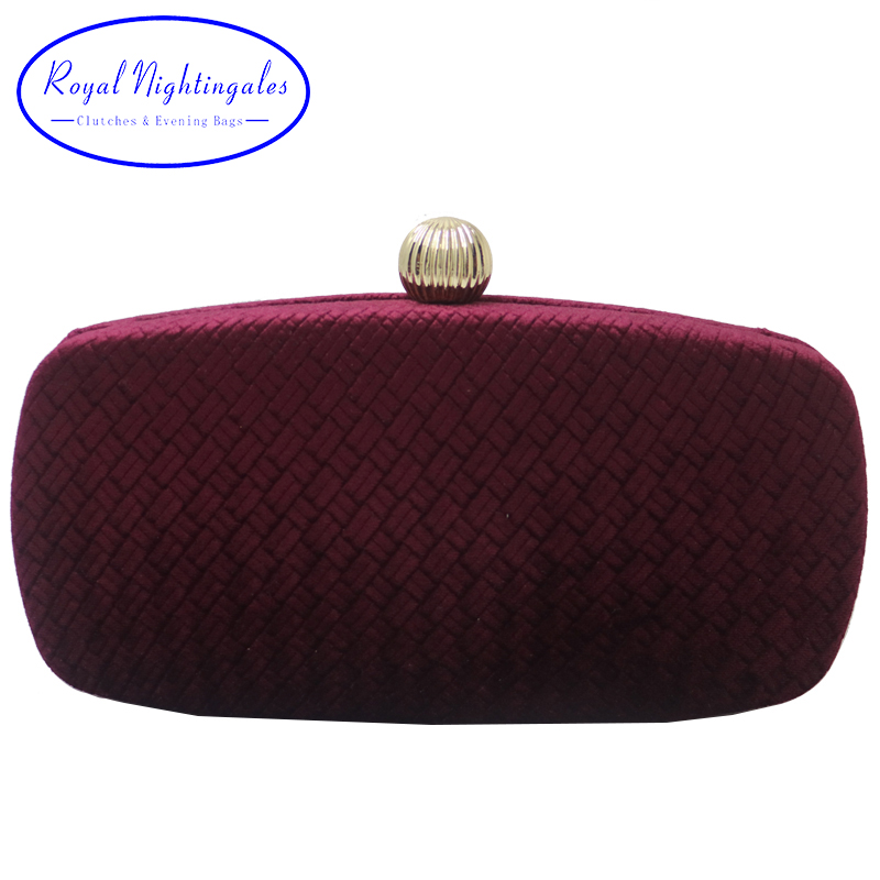 Royal Nightingales 2019 New Wine Red Hard Box Clutch And Evening Bags For Womens Party Prom  For Gift