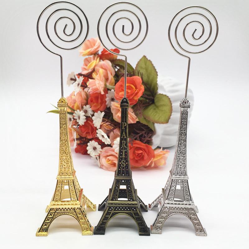 12pcs/lot Wedding Name Card Holders Paris Style Party Supplier Paris Eiffel Tower Place Card Holder with Name Place Tags image