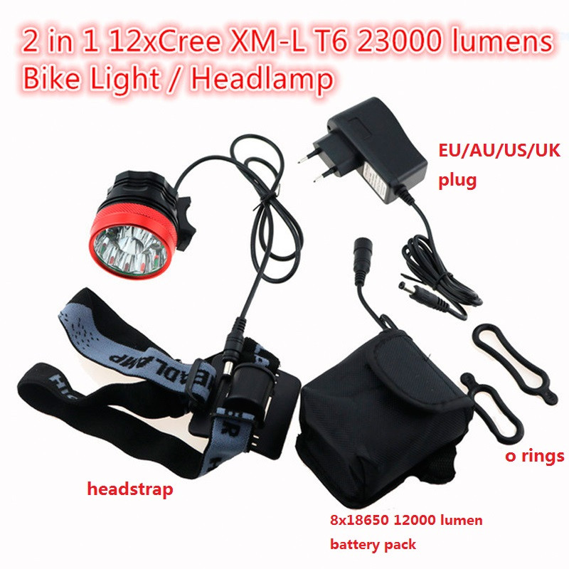Waterproof Bike Headlamp Headlight 23000 Lumens 12 x Cree XM-L T6 LED Cycling Bicycle Helmet Light + 18650 Battery Pack+Charger outdoor solarstorm bike light headlamp 2 cree led bicycle waterproof headlight flashlights 8 4v 4 18650 battery pack charger