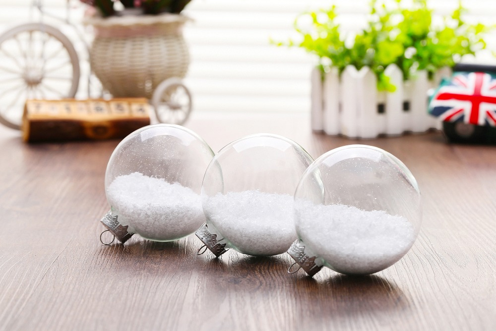Popular Transparent Glass Balls x 10 Christmas ornament wedding decor baubles with Snowflake powder Party theme freeship
