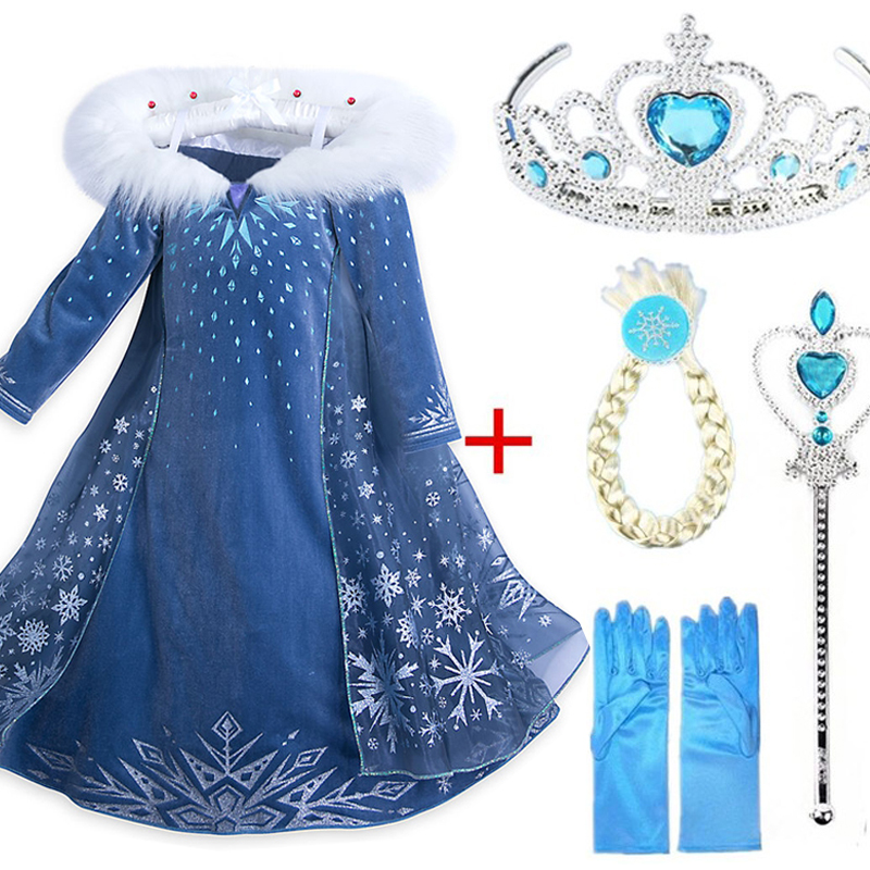 2018 New Elsa Dress Cosplay Snow Queen Princess Snowflake Anna Elsa Costume With Hair Accessory Kids Dresses for Girls Clothing