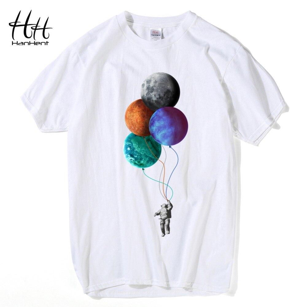 ffc92fcc4c30 HanHent Creative Moon T-shirts Men Summer Cotton Short Sleeve Tops Funny T  shirt 2018