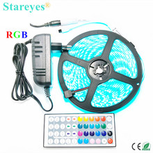 1 set SMD 5050 60 LED / M 5M RGB LED Strip flashlight tape LED lighting IP65 Waterproof strip + 44 key Remote + 3A Power Adapter