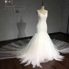 2017 Real Pictures White Lace Mermaid Sexy Backless Wedding Dress With Court Train Beading Bridal Gown vestito