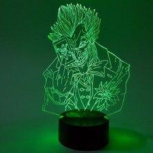 Бэтмен Джокер визуальная Иллюзия светодиодный 3D ночной Светильник RGB Изменение цвета Джокер Отряд Самоубийц фигурка Новинка светильник для детей