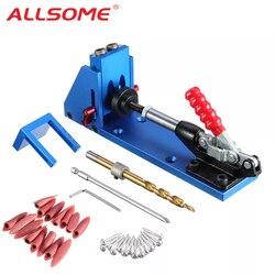 ALLSOME Holz Arbeits Werkzeug Tasche Loch Jig mit Toggle Clamp und 9,5mm Bohrer PH1 Schraubendreher Für Carpenter Hardware