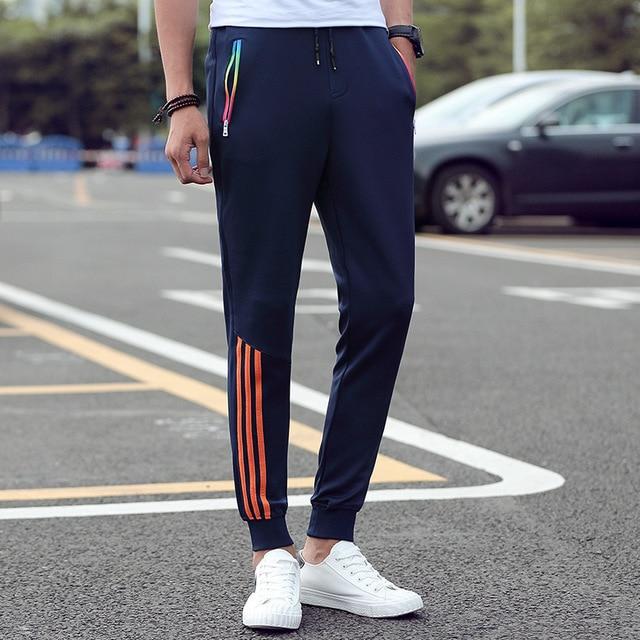 Men's Casual Pants 2018 Autumn Trousers Men Pants Slim Fit Sweatpants Cotton Jogger Striped Bodybuilding Gyms Pants Sportswear