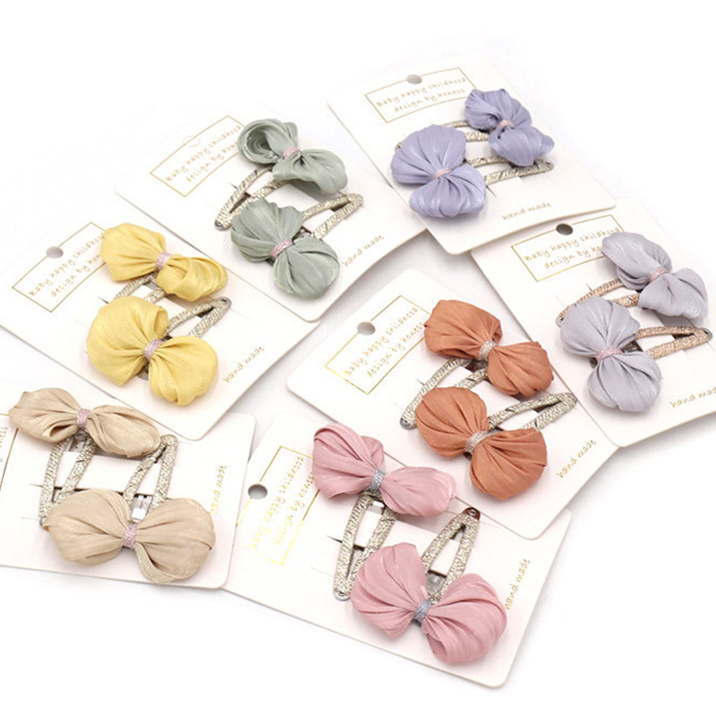 New Arrivals 2Pcs/Pack Children Hairpins Headwear Set Kids Princess Bright Silk Bow Bb Hair Clips For Girls  Hair Accessories