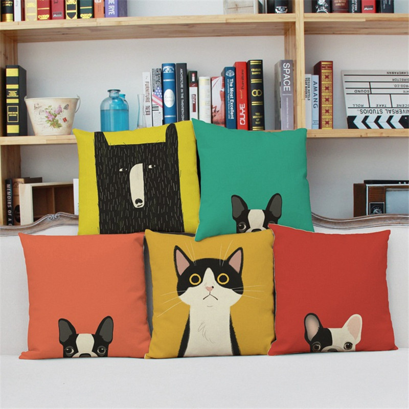 Cute cartoon cat dog green yellow colorful Pillow case Cushion Cover chair office Home hotel coffee shop Decoration gift for kid