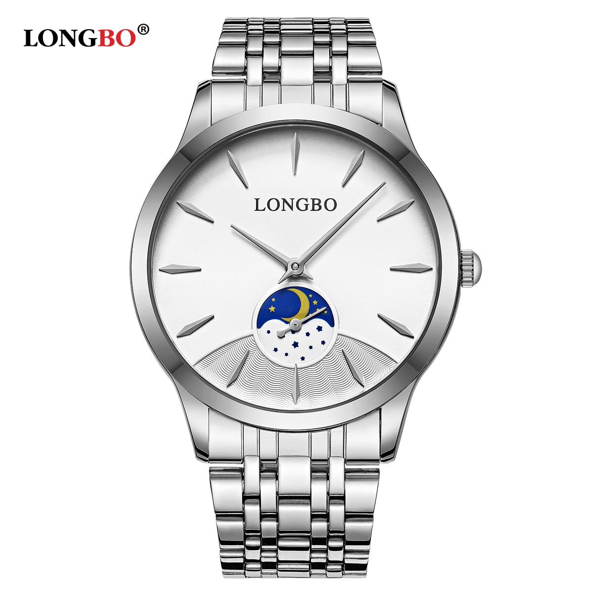 Fashion New LONGBO Brand Waterproof Lovers Watch Fashion Full Stainless Steel Band Simple Men Women Casual Couple Wristwatch