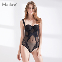 Munllure Mesh Steel Ring Black Temptation Slim Straps Hollow Piece Of Clothing Lace With Body Sculpting
