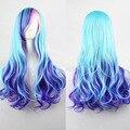 Harajuku Lolita Full Wigs 70cm 250g Long Curly Wavy Hair Fancy Dress Women Cosplay Party Wigs Pink Aqua Blue Mixed Ombre Wig