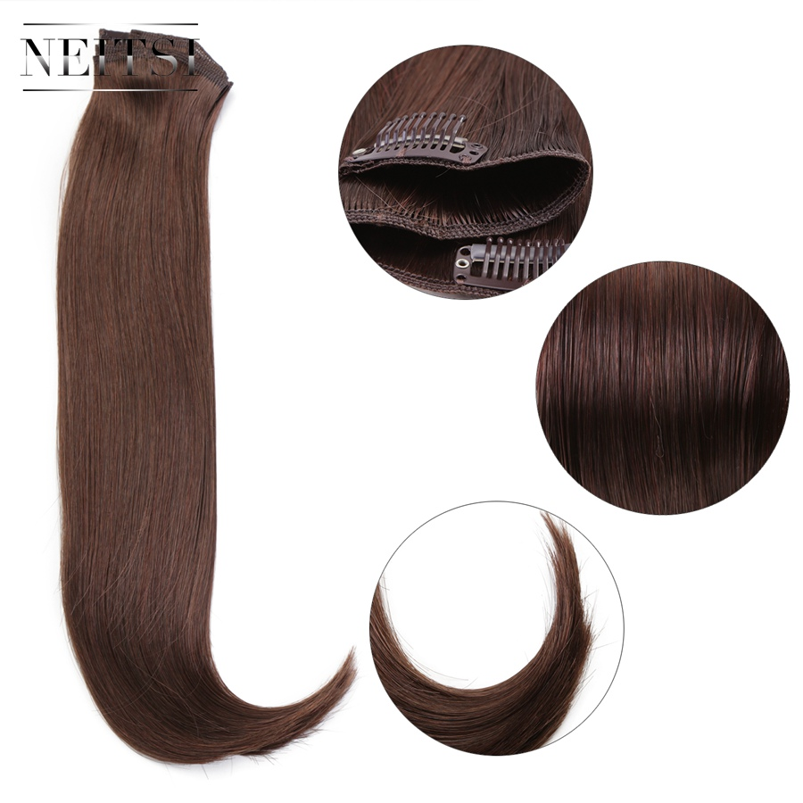 Styling Products Neitsi 14 3pcs/set 75g Clip In On Synthetic Hair Extensions Straight Hairpieces Red Brown 565#