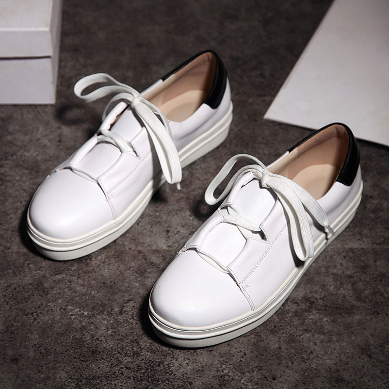ФОТО Platform Shoes Woman famous Casual Women Luxury 2017 Spring Autumn Flat Shoes Genuine Leather Footwear Round Toe Women Shoes