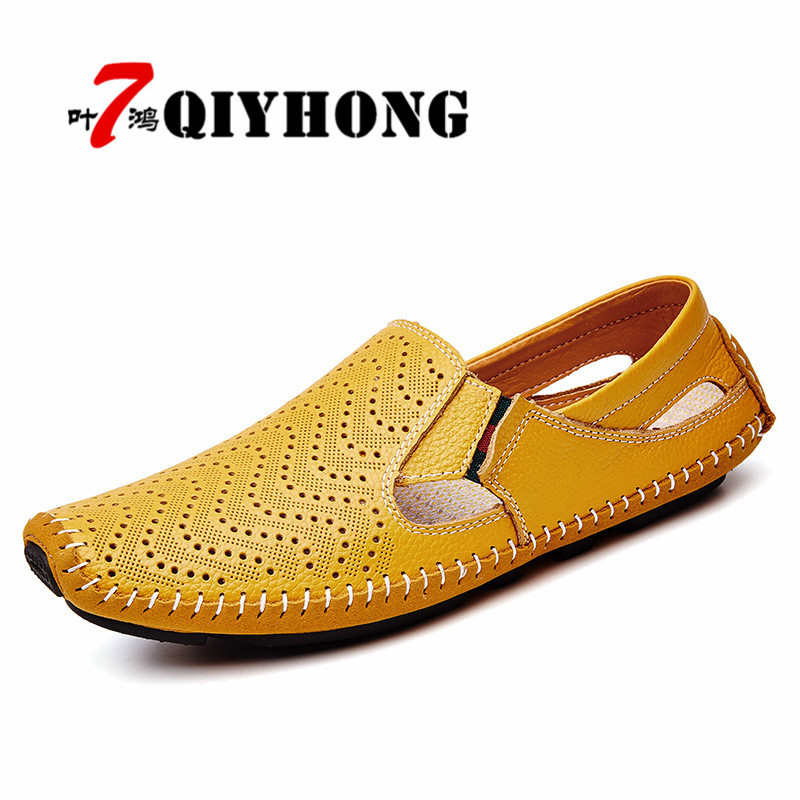 QIYHONG Brand 2018 New Men Fashion Leather Sandals Plus Size 45 46 47 Casual Slip on Summer Shoes 5 Colors Size 38 47