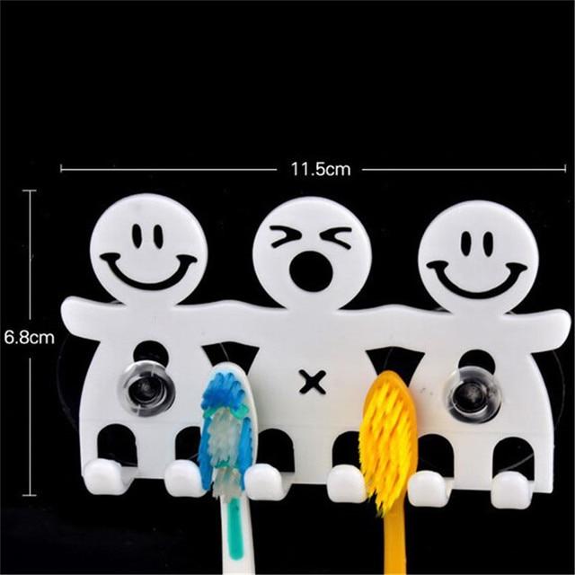 BalleenShiny Cute Cartoon Bathroom Kitchen Smiling Face Toothbrush Towel Storage Rack Sucker Hook Wall Organizer Holder