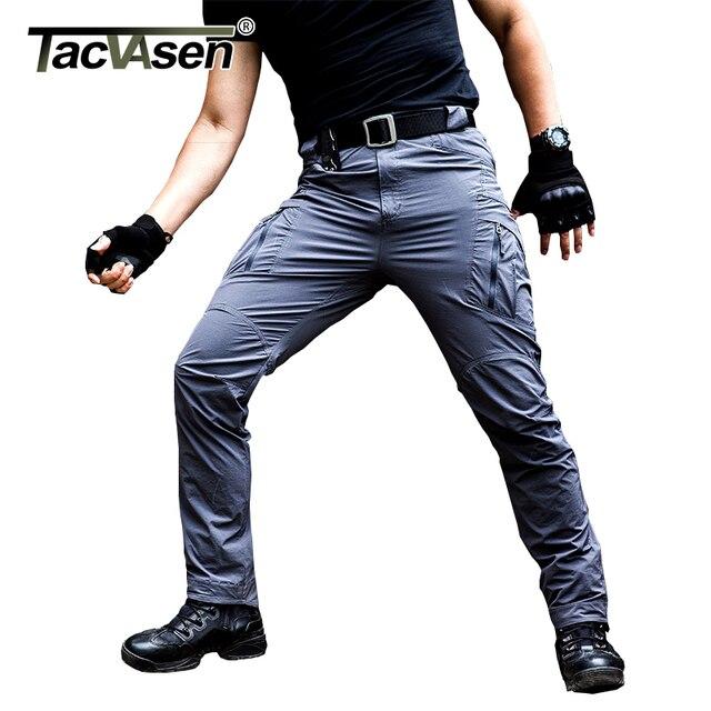 1cdd807c4376 TACVASEN IX9 mężczyzn taktyczne spodnie wodoodporne męskie spodnie Cargo  lato szybkoschnący spodnie Army Military bojowy spodnie