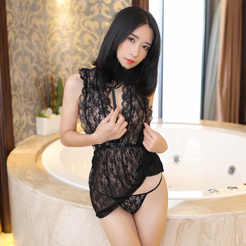 Black Lace Baby Doll Sexy Lingerie Women Porno Transparent Backless Lenceria Sexy Hot Erotic font b