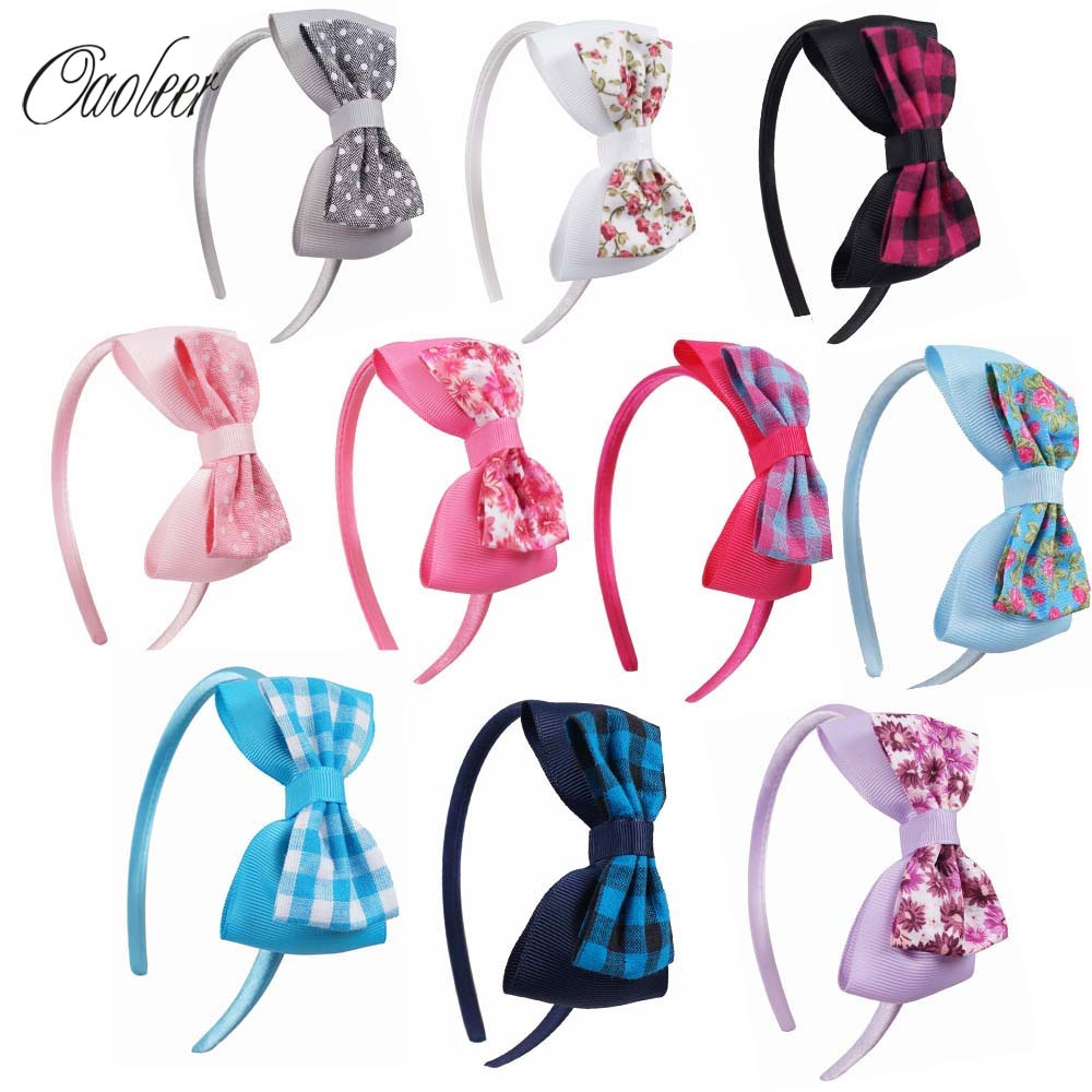 10pcs/lot Cute Grosgrain Ribbon Bowknot Girls Hairbands Kids Hair Bows Headbands Headwear Hair Accessories 10pcs lot high quality hair band with grosgrain ribbon flower for girls handmade flower hairbow hairband kids hair accessories