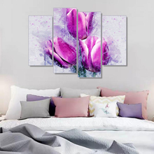 Laeacco 4 Panel Nordic Calligraphy Painting Flowers Canvas Posters and Prints Watercolor Tulip Wall Art Home Living Room Decor