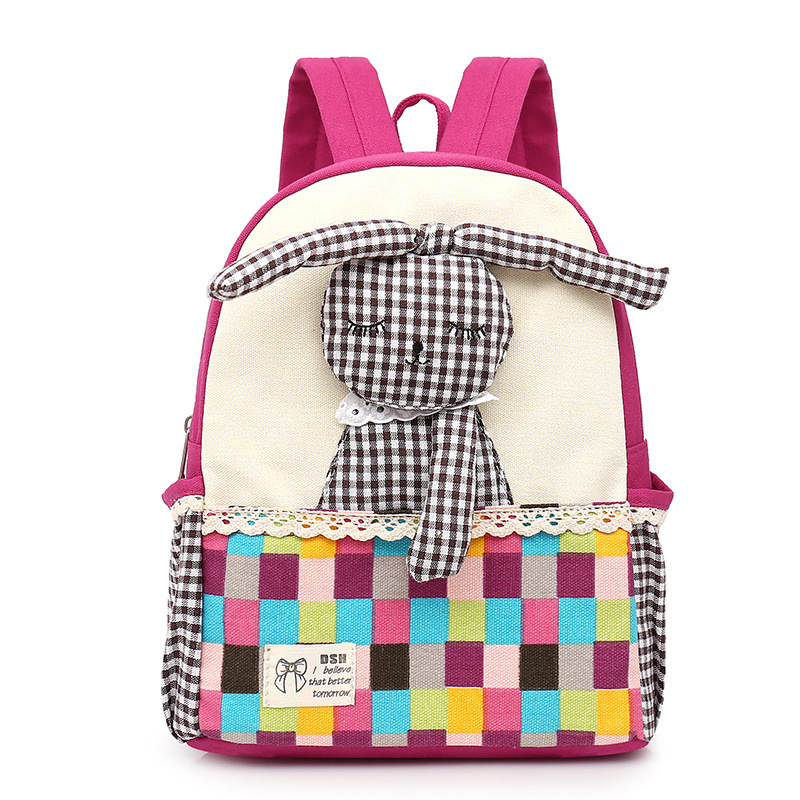 Kindergarten Kids 3d Rabbit School Backpack Toddler Cartoon Girl Patchwork Bags Canvas Mochila Children School Bookbag Rucksack nohoo toddler kids backpack 3d rocket space cartoon pre school bags children school backpacks kindergarten kids bags mochila