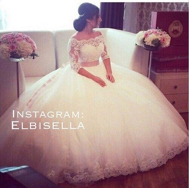 Vestido De Noiva Bridal Gowns Off Shoulder Lace Appliques Floor Length Ball Gown Sheer Bateau 2018 Mother Of The Bride Dresses