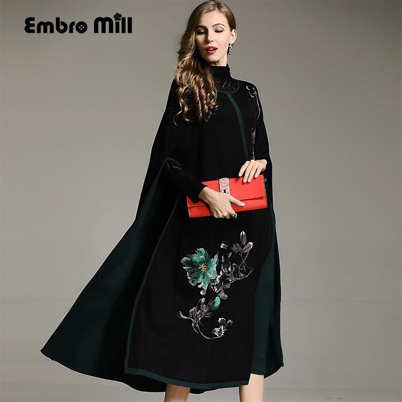 Women vintage floral wool Cloak trench coat embroidery flower elegant loose lady casual knit Cape Outerwear female M-XXL