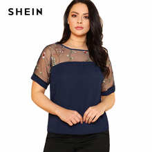 SHEIN Flower Embroidered Mesh Shoulder Top 2018 Summer Round Neck Short Sleeve Floral Blouse Women Plus Size Navy Casual Top