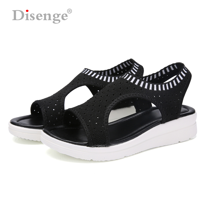 Energisch Disenge Frauen Sandalen 2019 Neue Mode Weibliche Schuhe Atmungsaktive Komfort Zu Fuß Schuhe Damen Sommer Plattform Slip-on Flache Sandalen Ungleiche Leistung