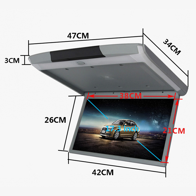 Image 5 - Cemicen 17.3 Inch Android 8.1 Car Monitor Ceiling Mount Roof HD 1080P Video IPS Screen WIFI/HDMI/USB/SD/FM/Bluetooth/SpeakerCar Monitors   -