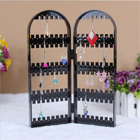 Women Wrought 120 Hole Earrings Jewelry Display Wall Mounted Frame Rack Metal Holder Iron Convenient Jewelry