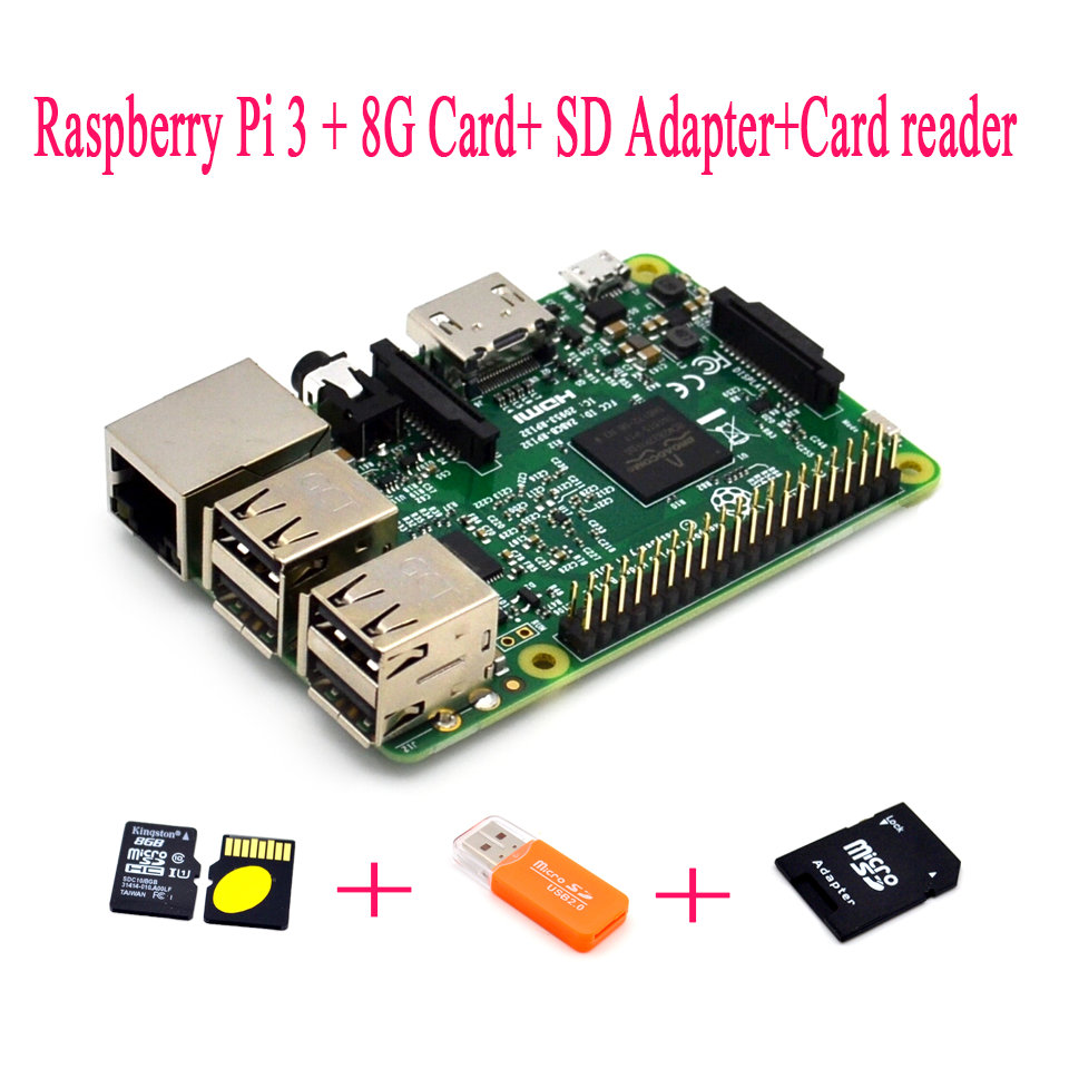 Raspberry Pi 3 + 8G Card+ SD Adapter+Card reader Raspberry KitRaspberry Pi 3 + 8G Card+ SD Adapter+Card reader Raspberry Kit